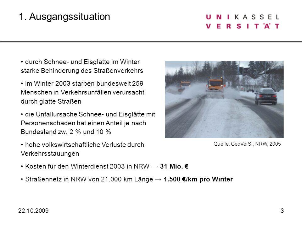 1. Ausgangssituation durch Schnee- und Eisglätte im Winter starke Behinderung des Straßenverkehrs.
