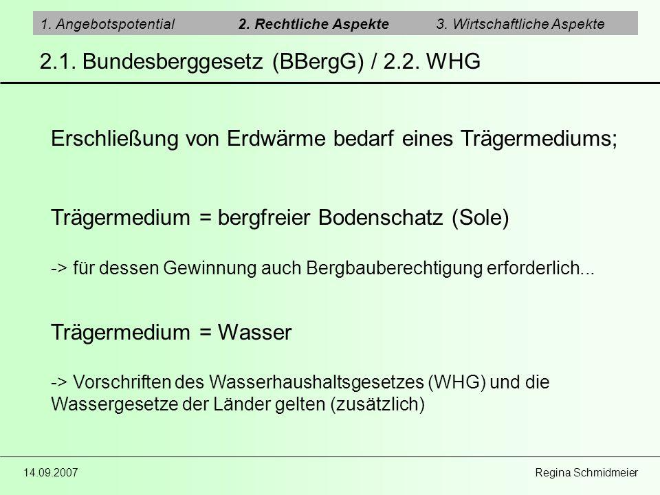 2.1. Bundesberggesetz (BBergG) / 2.2. WHG