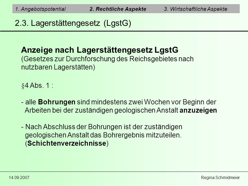 2.3. Lagerstättengesetz (LgstG)