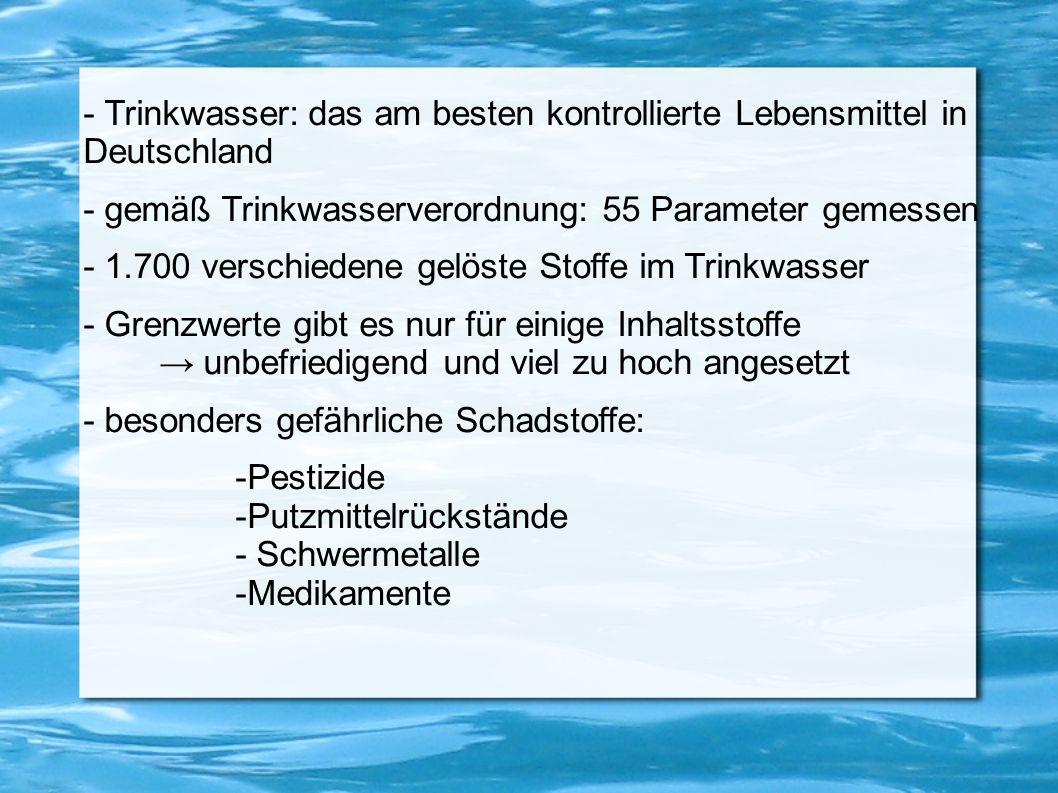 - Trinkwasser: das am besten kontrollierte Lebensmittel in Deutschland