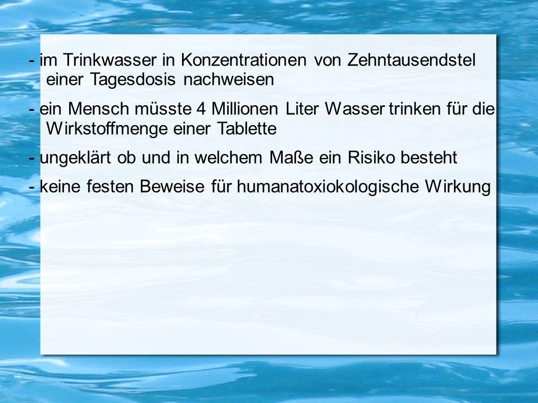- im Trinkwasser in Konzentrationen von Zehntausendstel einer Tagesdosis nachweisen