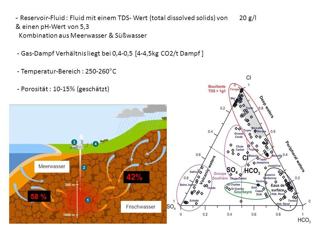 - Reservoir-Fluid : Fluid mit einem TDS- Wert (total dissolved solids) von 20 g/l & einen pH-Wert von 5,3