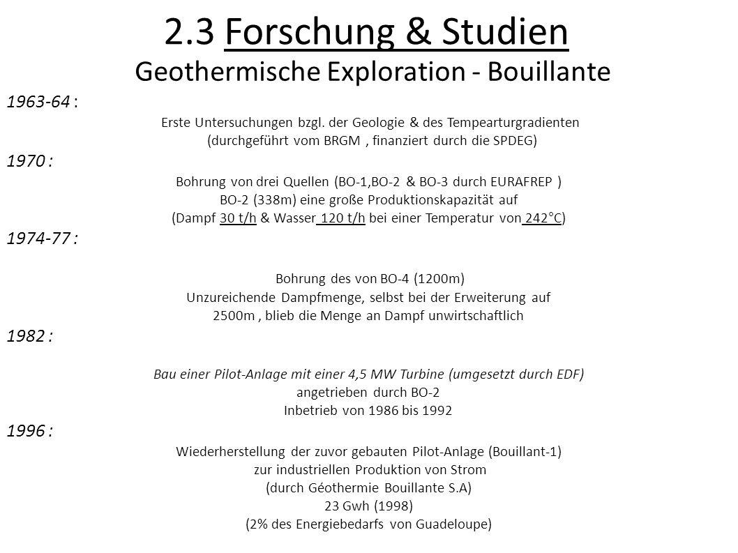 2.3 Forschung & Studien Geothermische Exploration - Bouillante