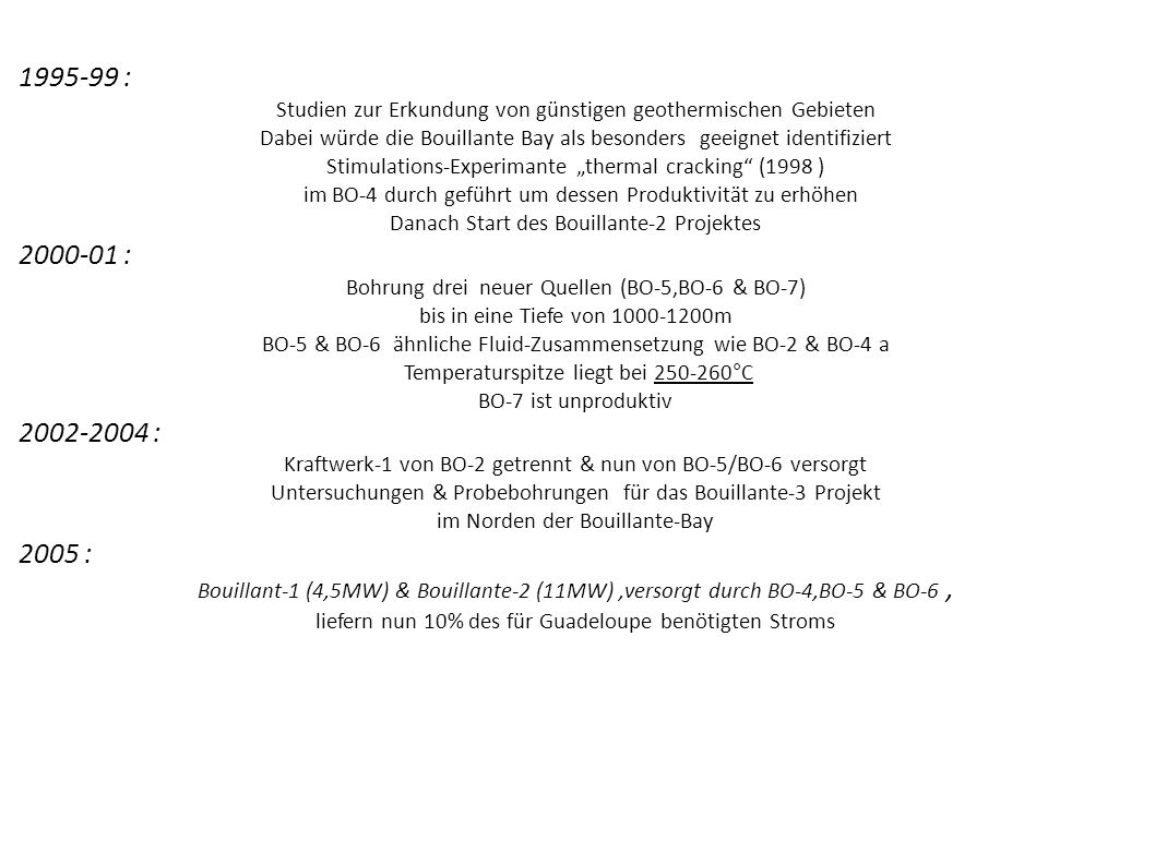 1995-99 :Studien zur Erkundung von günstigen geothermischen Gebieten. Dabei würde die Bouillante Bay als besonders geeignet identifiziert.