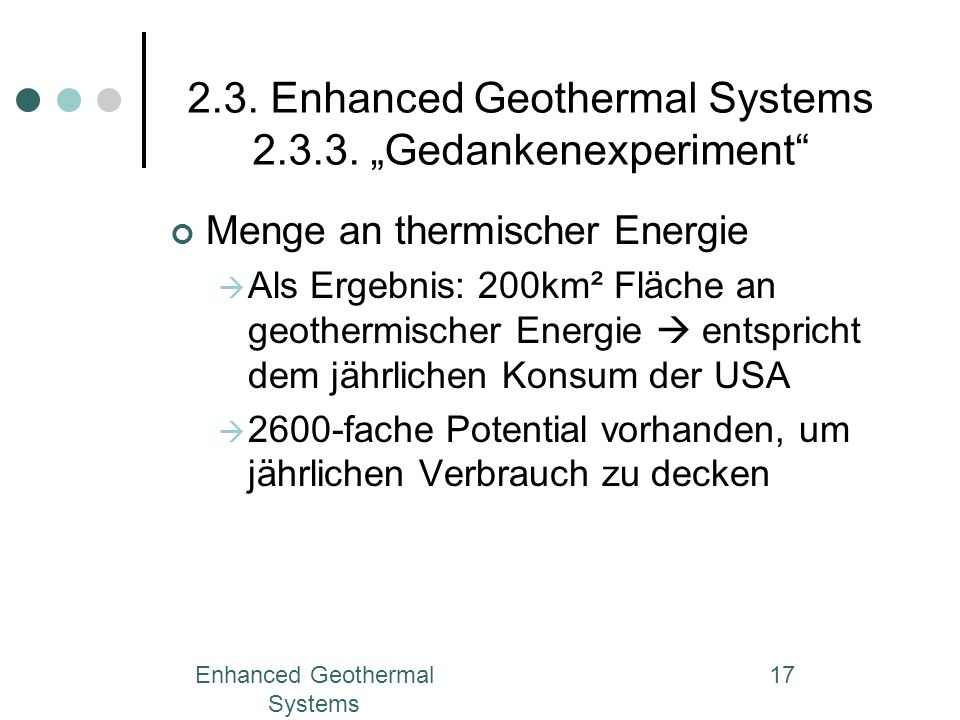 "2.3. Enhanced Geothermal Systems ""Gedankenexperiment"