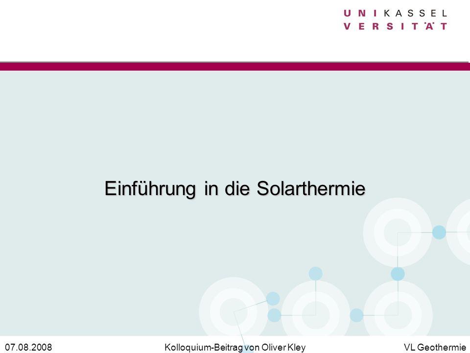 Einführung in die Solarthermie