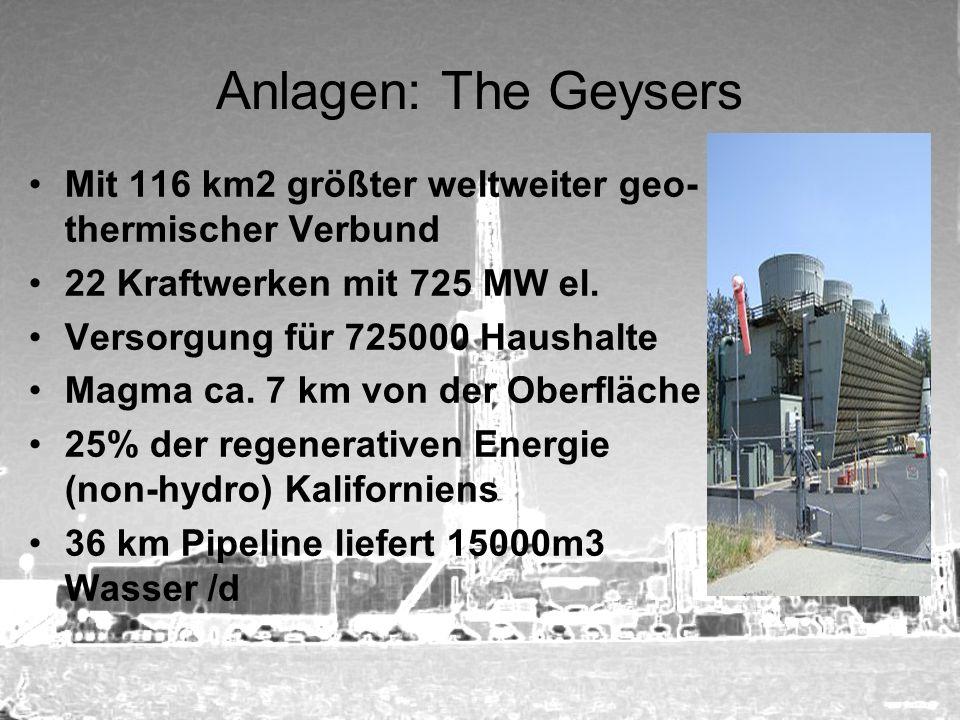 Anlagen: The Geysers Mit 116 km2 größter weltweiter geo-thermischer Verbund. 22 Kraftwerken mit 725 MW el.