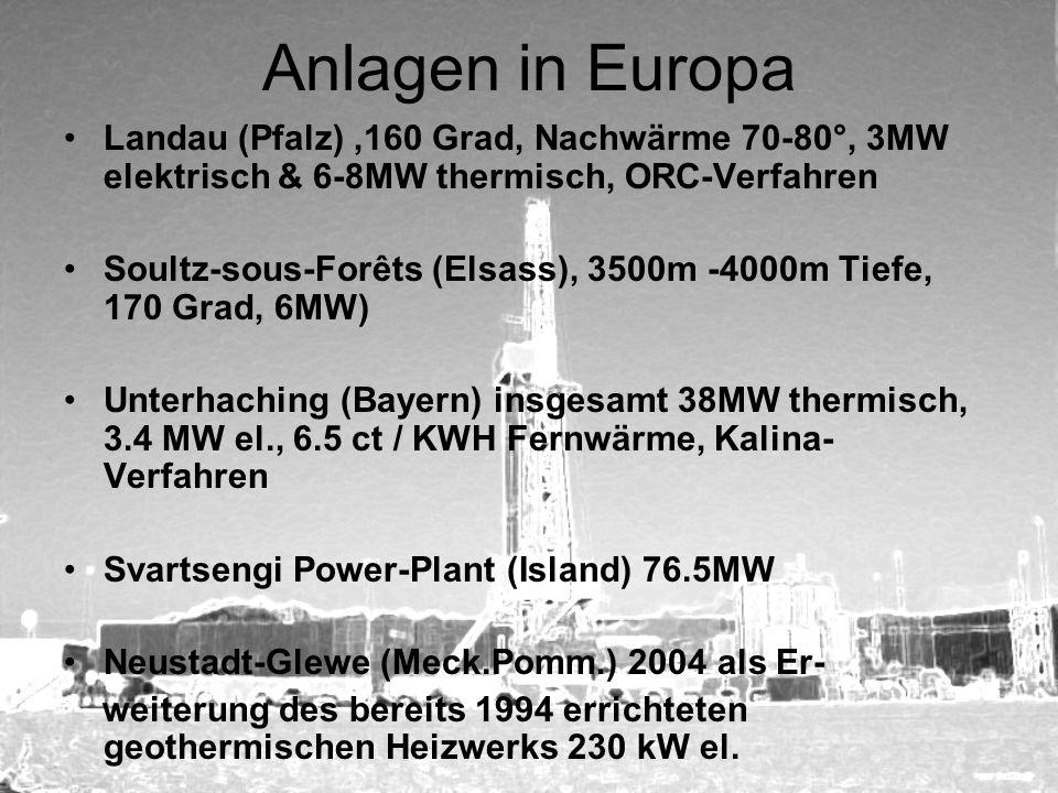 Anlagen in Europa Landau (Pfalz) ,160 Grad, Nachwärme 70-80°, 3MW elektrisch & 6-8MW thermisch, ORC-Verfahren.