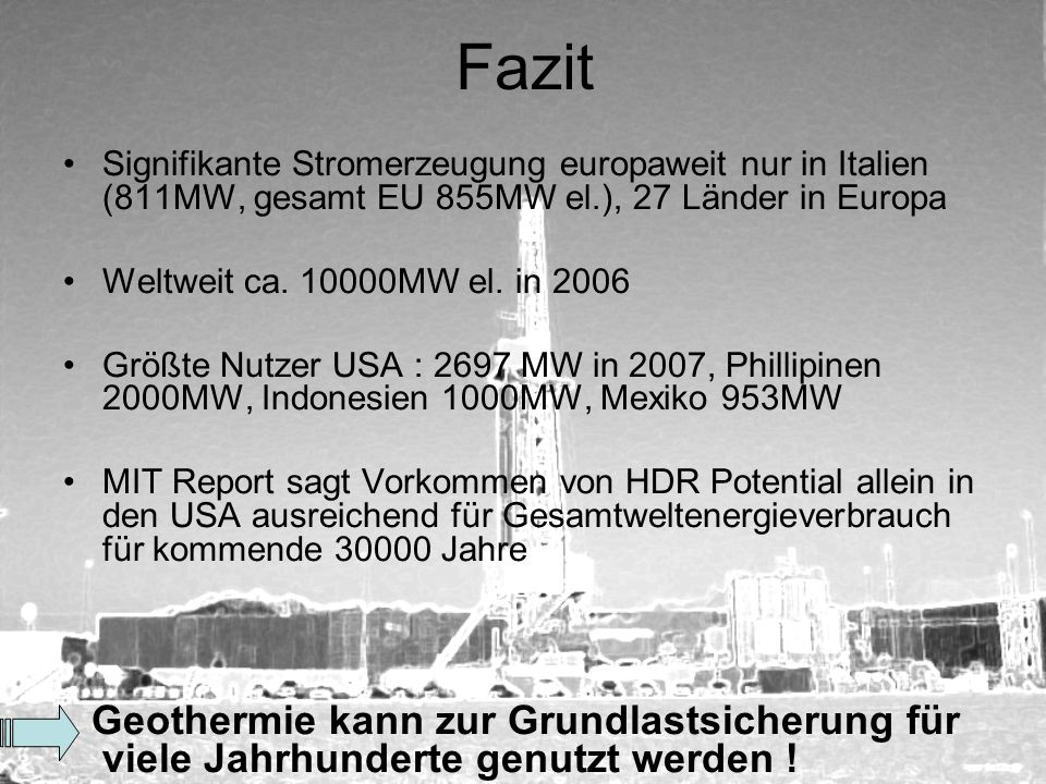 Fazit Signifikante Stromerzeugung europaweit nur in Italien (811MW, gesamt EU 855MW el.), 27 Länder in Europa.