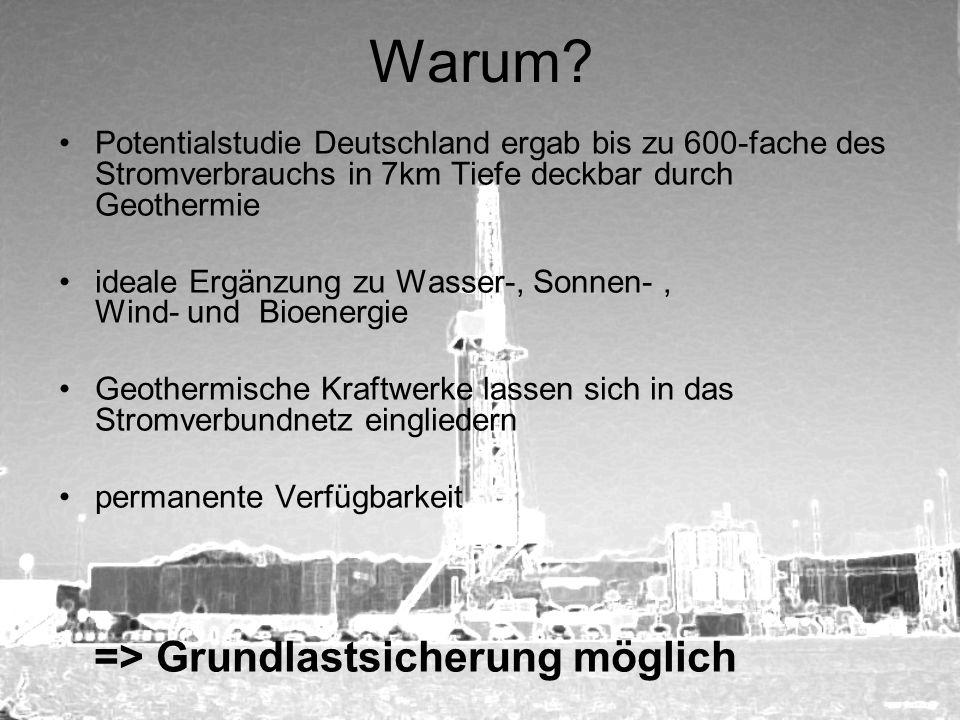 Warum Potentialstudie Deutschland ergab bis zu 600-fache des Stromverbrauchs in 7km Tiefe deckbar durch Geothermie.