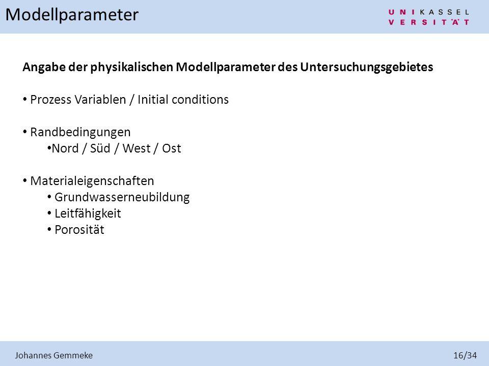 Johannes Gemmeke 16/34 Modellparameter. Angabe der physikalischen Modellparameter des Untersuchungsgebietes.