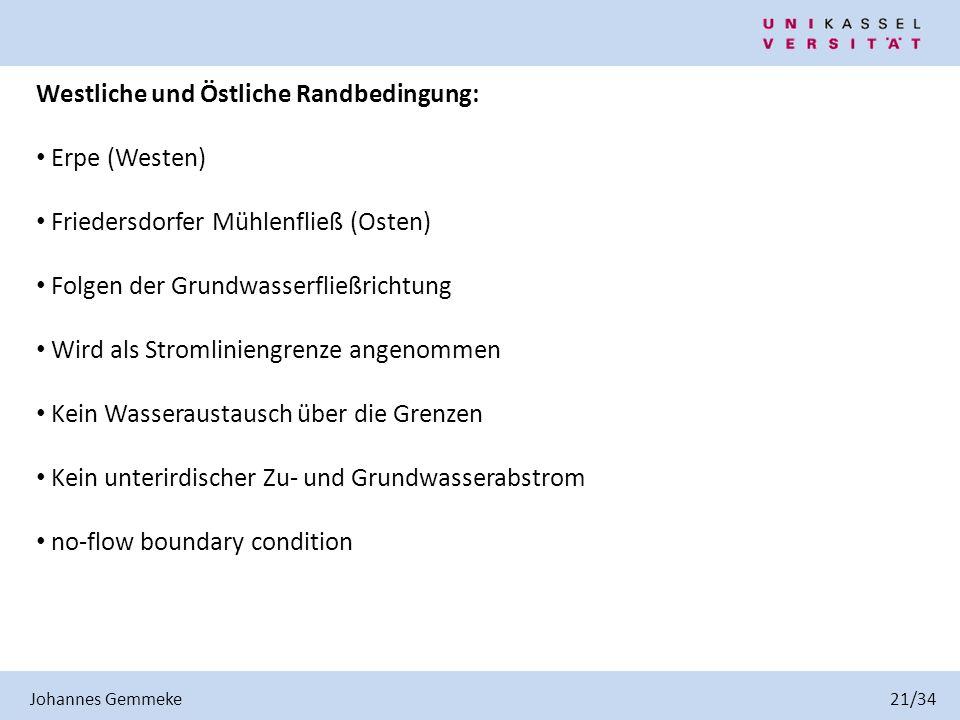 Westliche und Östliche Randbedingung: Erpe (Westen)