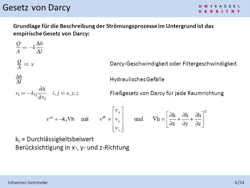 Gesetz von Darcy kf = Durchlässigkeitsbeiwert