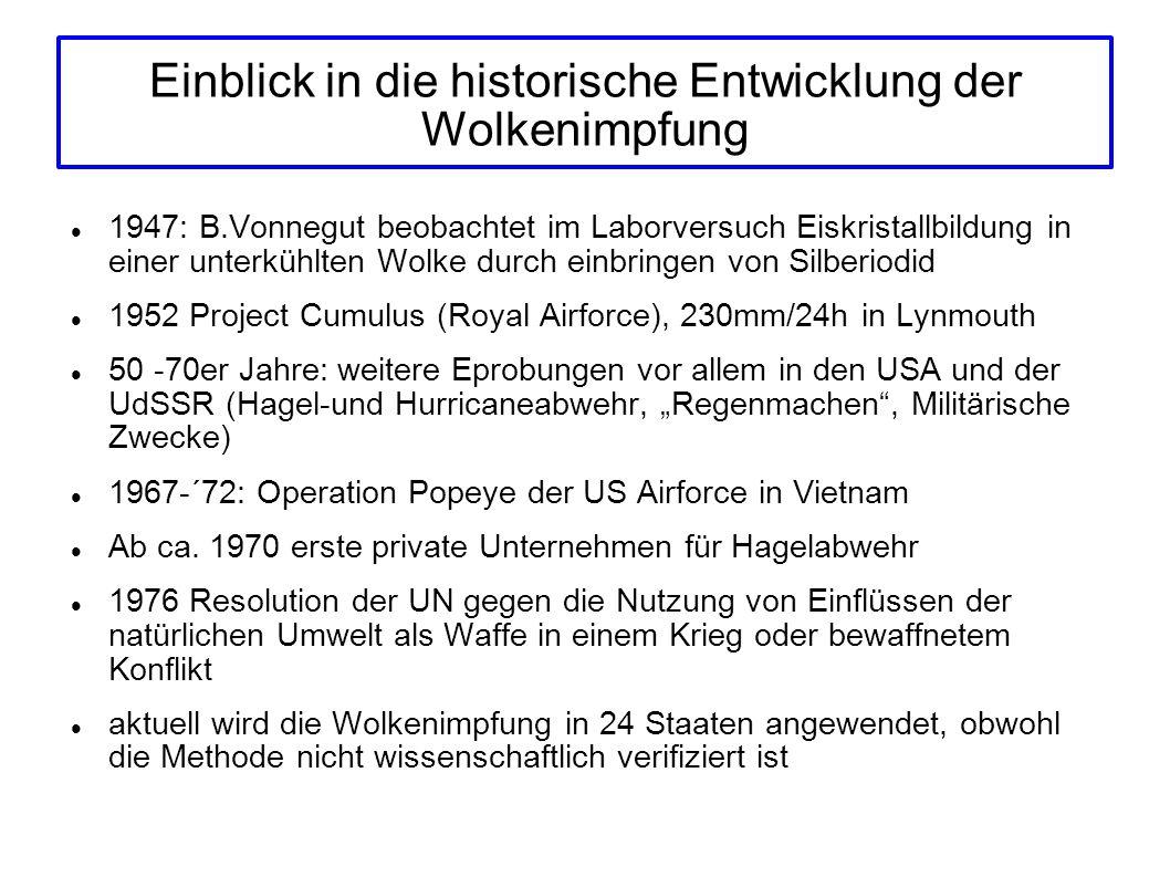 Einblick in die historische Entwicklung der Wolkenimpfung