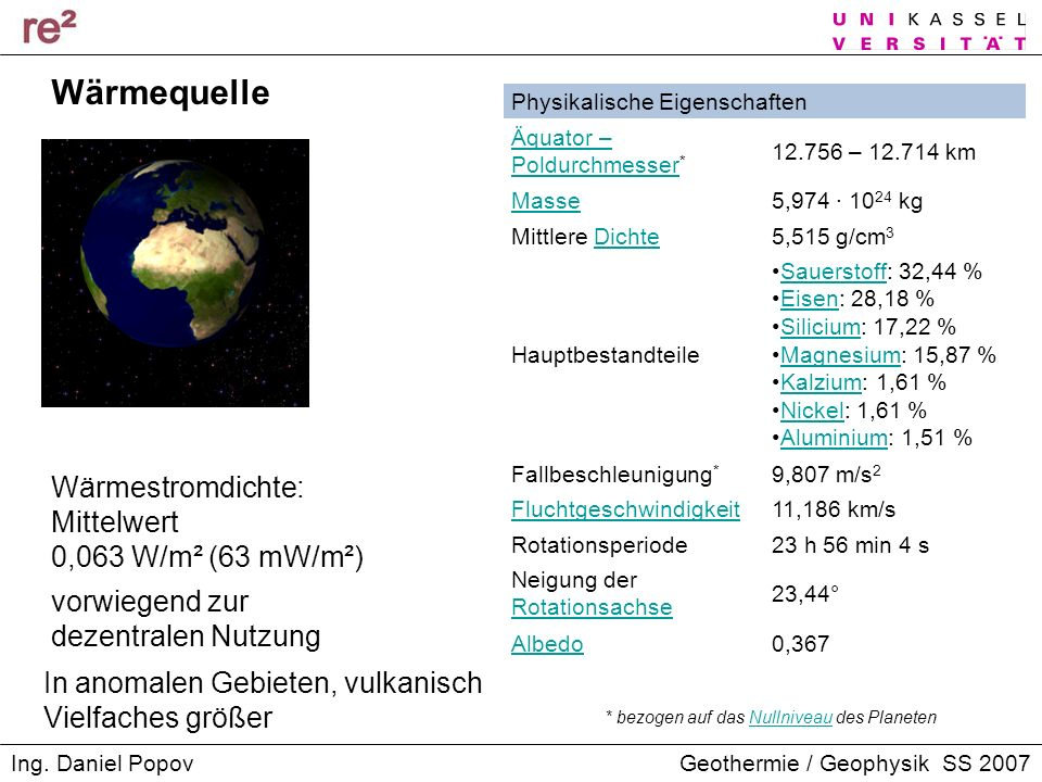 Wärmequelle Wärmestromdichte: Mittelwert 0,063 W/m² (63 mW/m²)