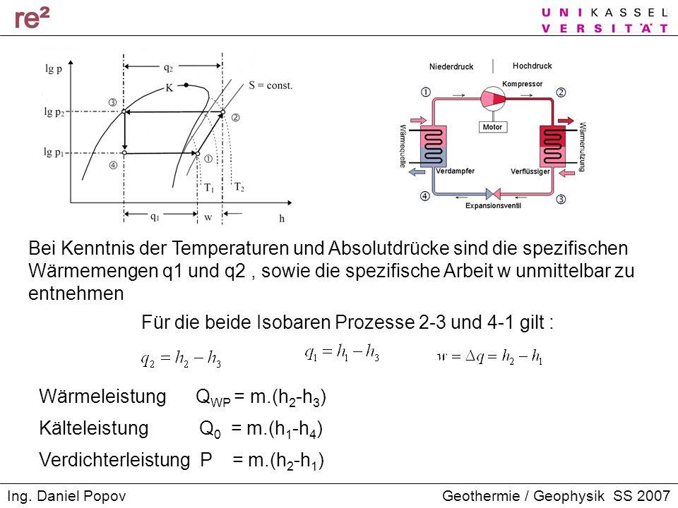 Für die beide Isobaren Prozesse 2-3 und 4-1 gilt :