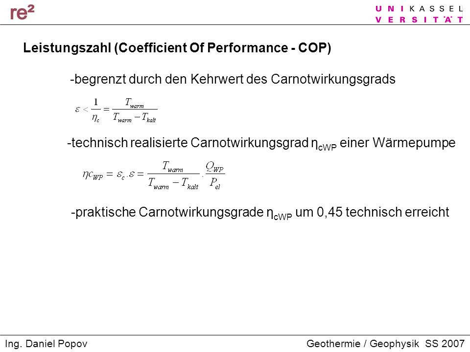 Leistungszahl (Coefficient Of Performance - COP)