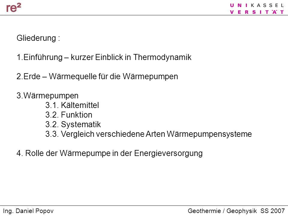 Gliederung : 1.Einführung – kurzer Einblick in Thermodynamik. 2.Erde – Wärmequelle für die Wärmepumpen.