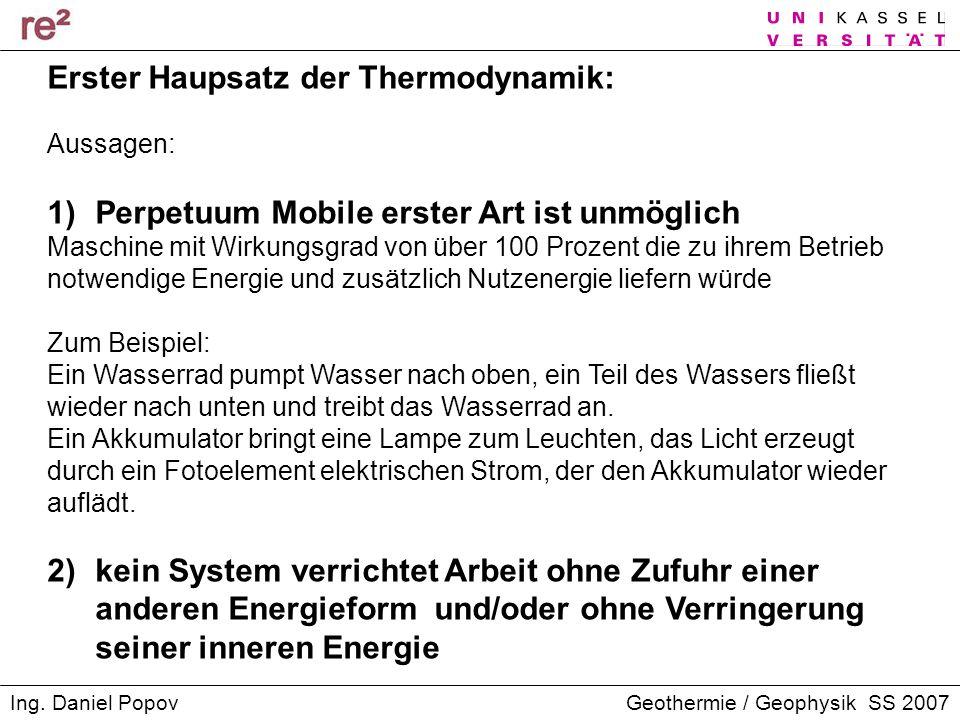 Erster Haupsatz der Thermodynamik:
