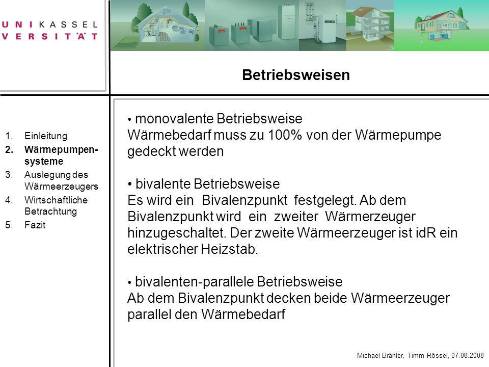 Betriebsweisen Einleitung. Wärmepumpen-systeme. Auslegung des Wärmeerzeugers. Wirtschaftliche Betrachtung.