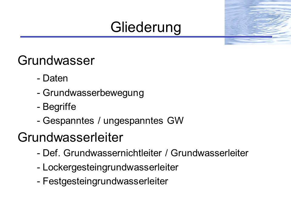 Gliederung Grundwasser Grundwasserleiter - Daten - Grundwasserbewegung