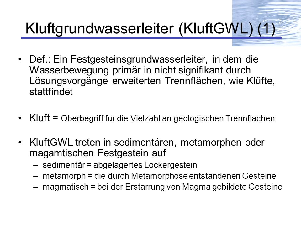 Kluftgrundwasserleiter (KluftGWL) (1)