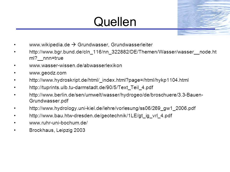 Quellen www.wikipedia.de  Grundwasser, Grundwasserleiter