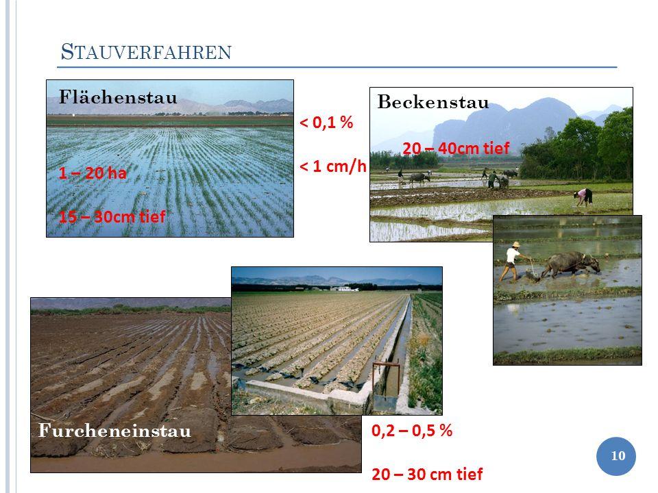 Stauverfahren Flächenstau Beckenstau < 0,1 % < 1 cm/h