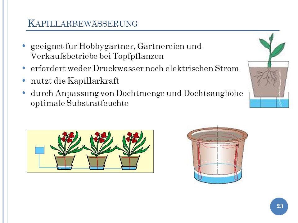 Kapillarbewässerung geeignet für Hobbygärtner, Gärtnereien und Verkaufsbetriebe bei Topfpflanzen.