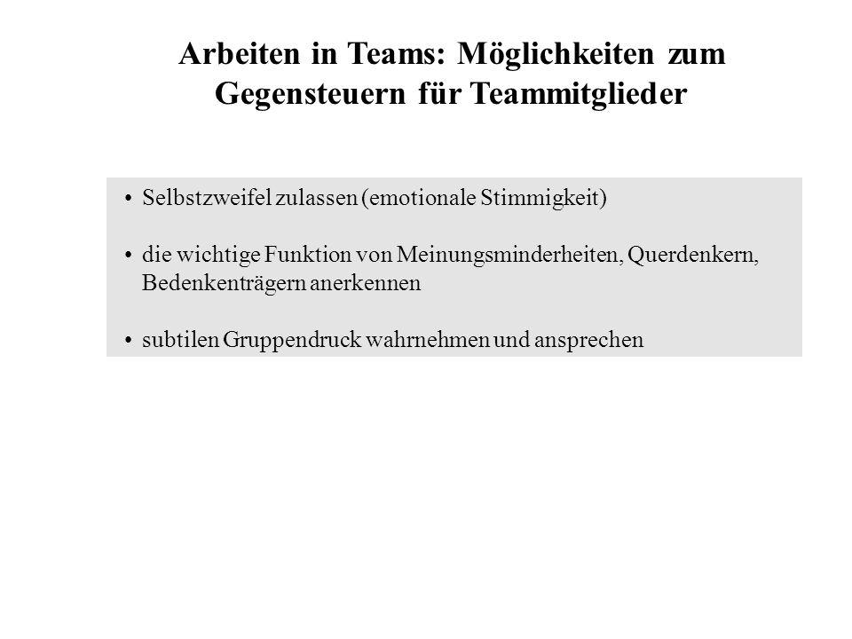 Arbeiten in Teams: Möglichkeiten zum Gegensteuern für Teammitglieder