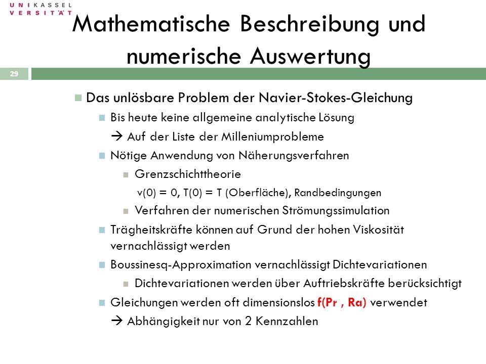 Mathematische Beschreibung und numerische Auswertung