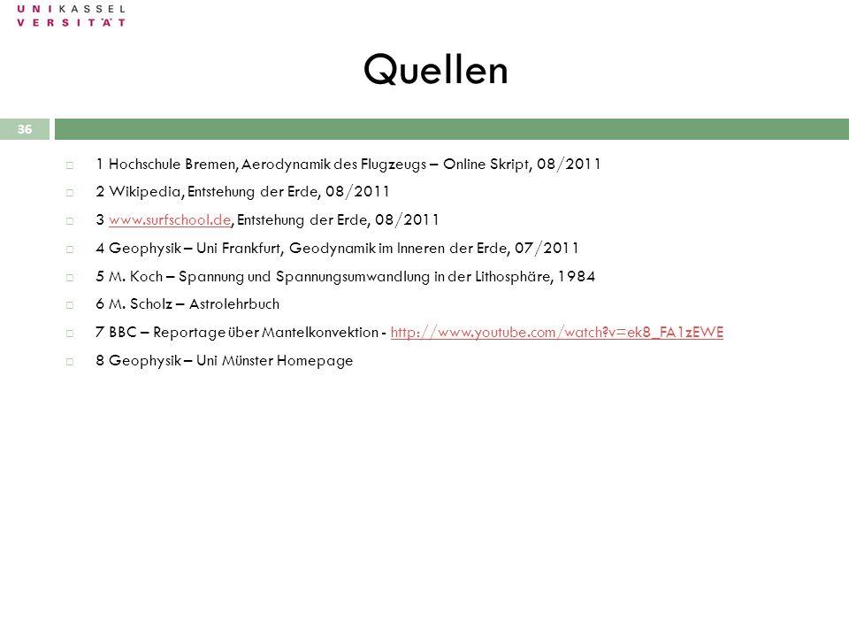 Quellen 1 Hochschule Bremen, Aerodynamik des Flugzeugs – Online Skript, 08/2011. 2 Wikipedia, Entstehung der Erde, 08/2011.