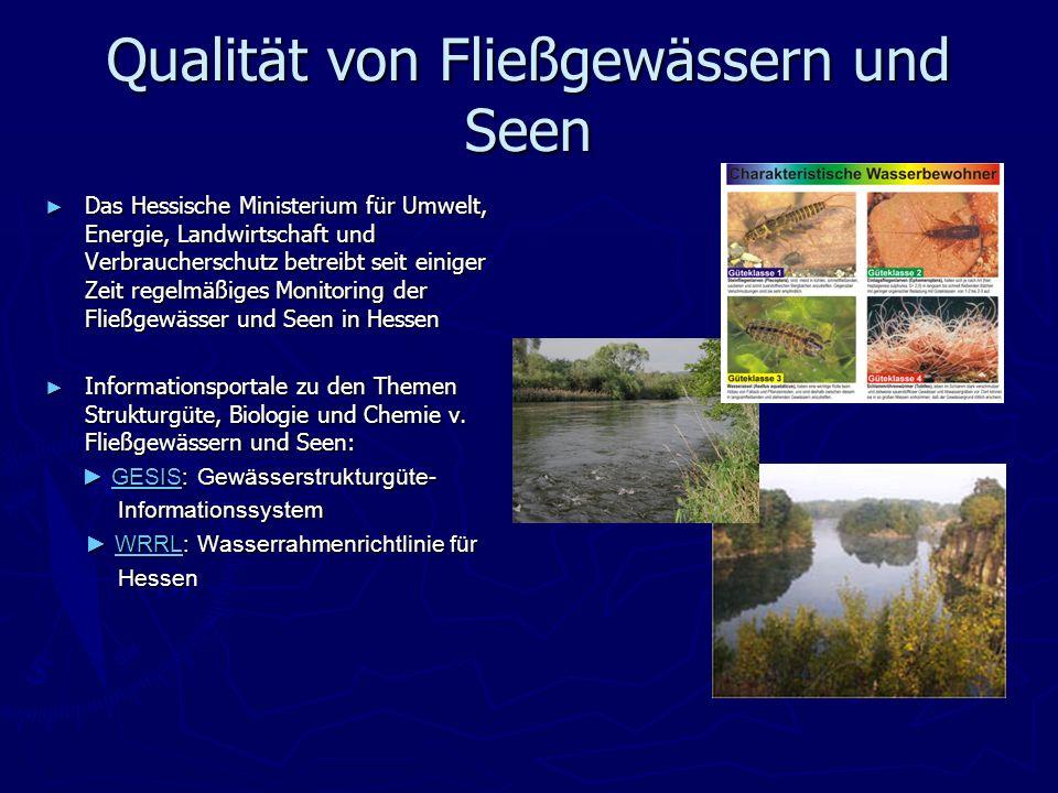 Qualität von Fließgewässern und Seen