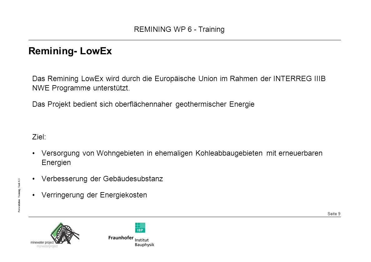 Remining- LowEx Das Remining LowEx wird durch die Europäische Union im Rahmen der INTERREG IIIB NWE Programme unterstützt.