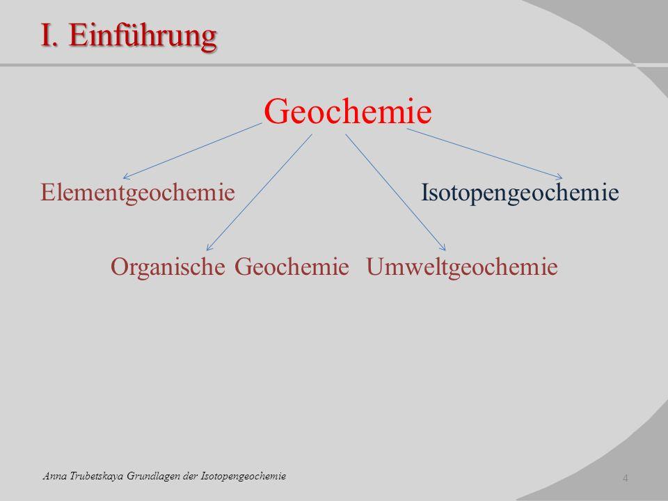 Geochemie I. Einführung Elementgeochemie Isotopengeochemie
