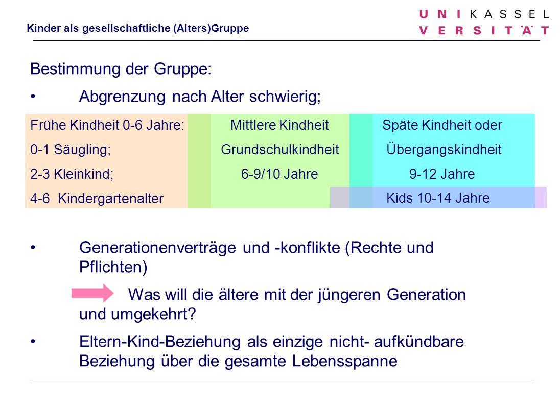Bestimmung der Gruppe: Abgrenzung nach Alter schwierig;