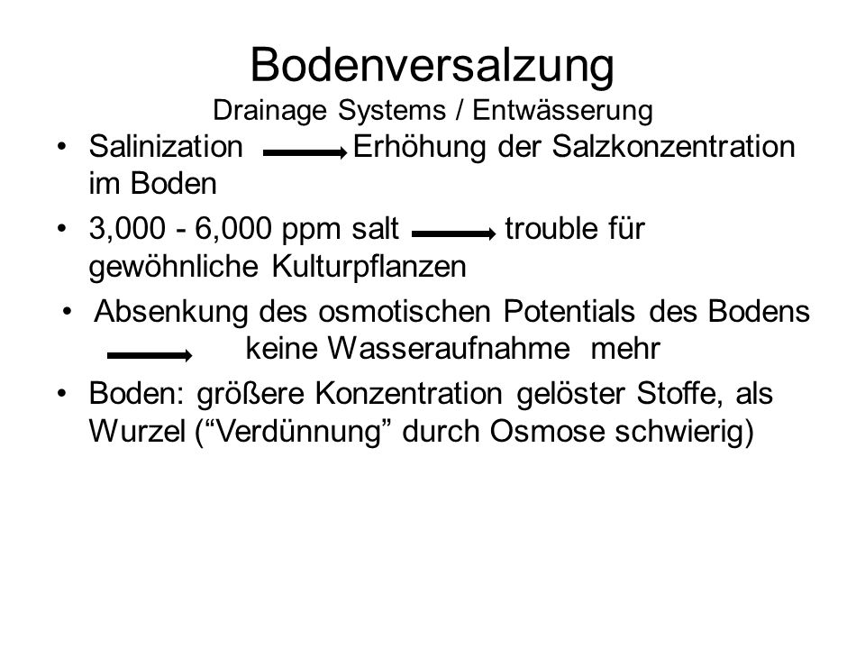 Bodenversalzung Drainage Systems / Entwässerung