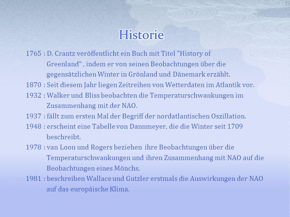 Historie 1765 : D. Crantz veröffentlicht ein Buch mit Titel History of. Greenland , indem er von seinen Beobachtungen über die.
