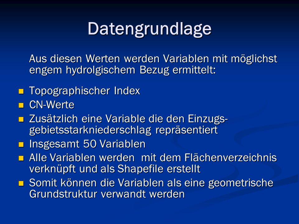 Datengrundlage Aus diesen Werten werden Variablen mit möglichst engem hydrolgischem Bezug ermittelt: