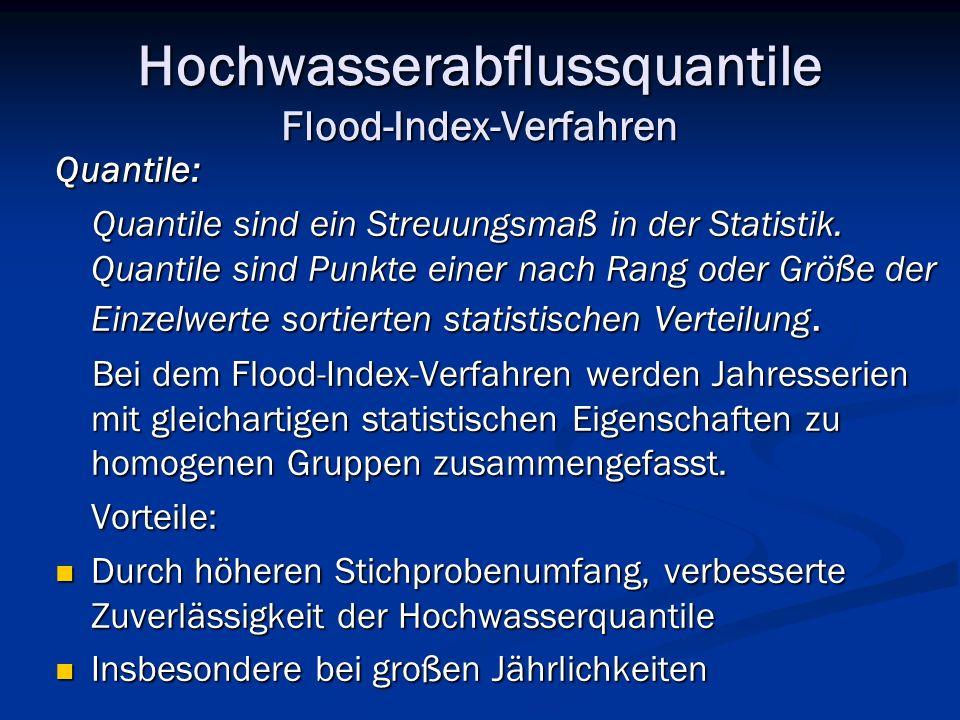 Hochwasserabflussquantile Flood-Index-Verfahren