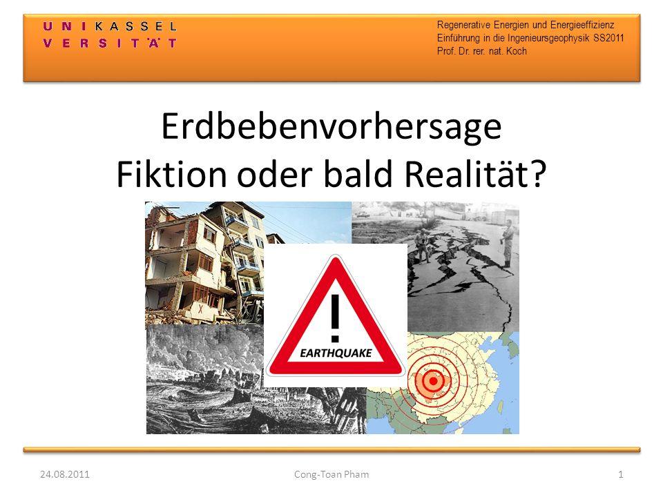 Erdbebenvorhersage Fiktion oder bald Realität