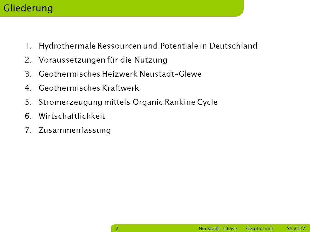Gliederung Hydrothermale Ressourcen und Potentiale in Deutschland