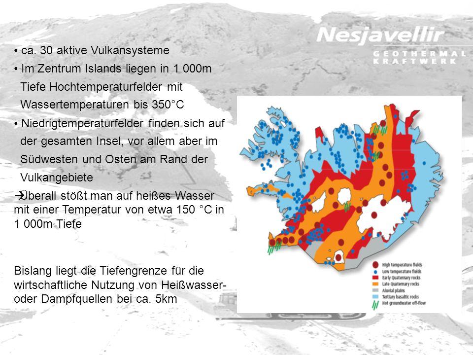 ca. 30 aktive Vulkansysteme