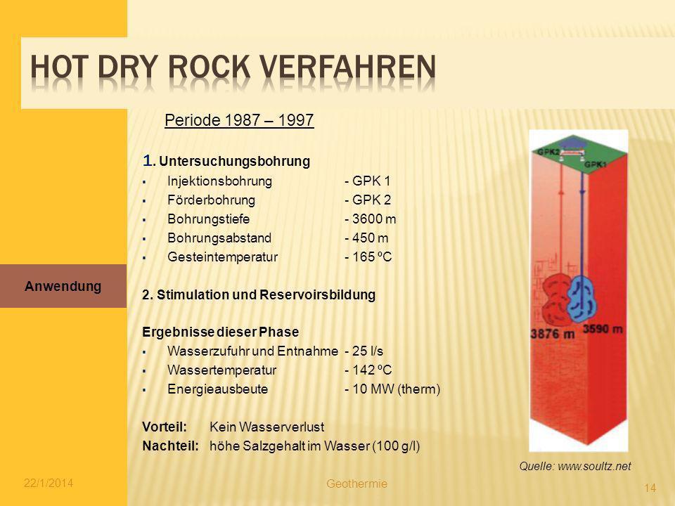 Hot dry rock verfahren 1. Untersuchungsbohrung Periode 1987 – 1997