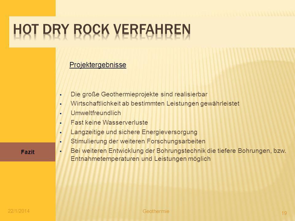 Hot dry rock verfahren Projektergebnisse