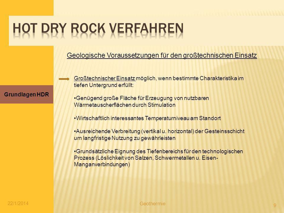 Hot dry rock verfahren Geologische Voraussetzungen für den großtechnischen Einsatz.