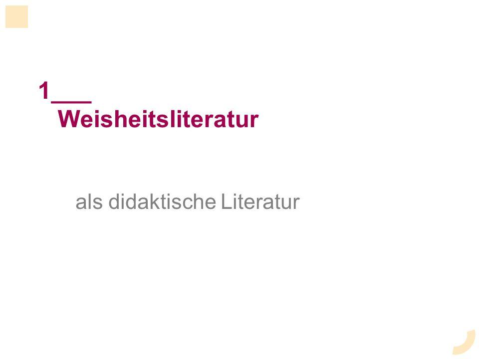 1___ Weisheitsliteratur