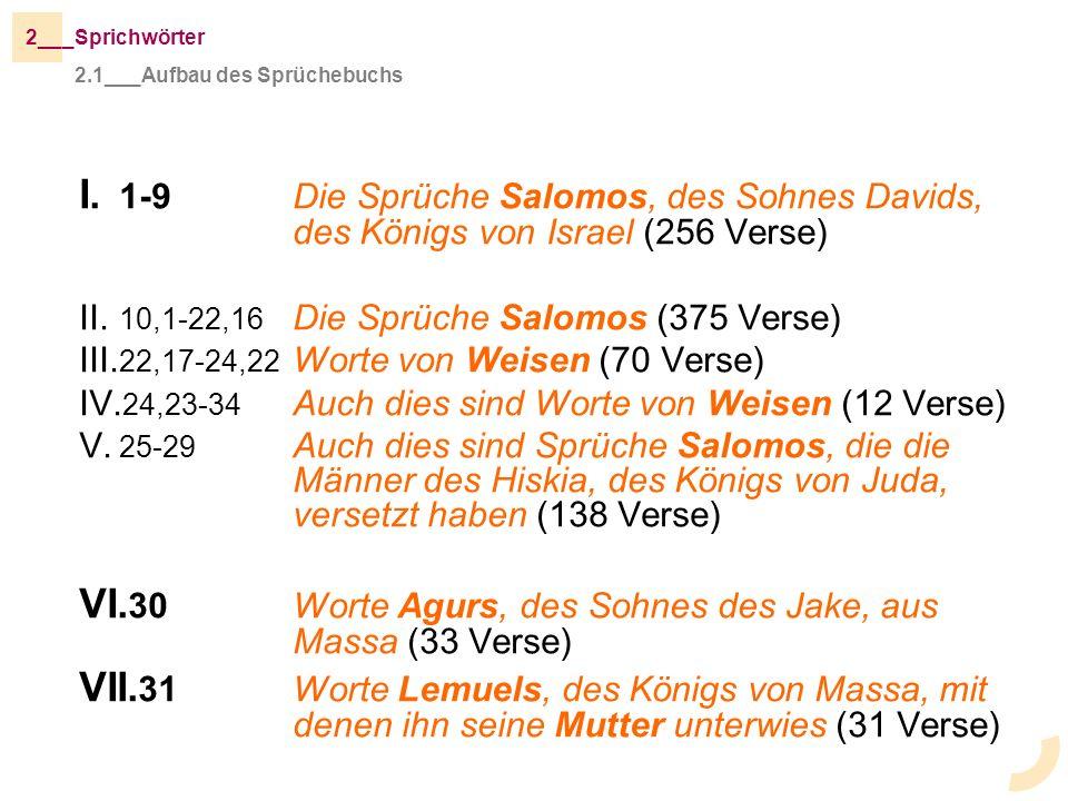 VI.30 Worte Agurs, des Sohnes des Jake, aus Massa (33 Verse)