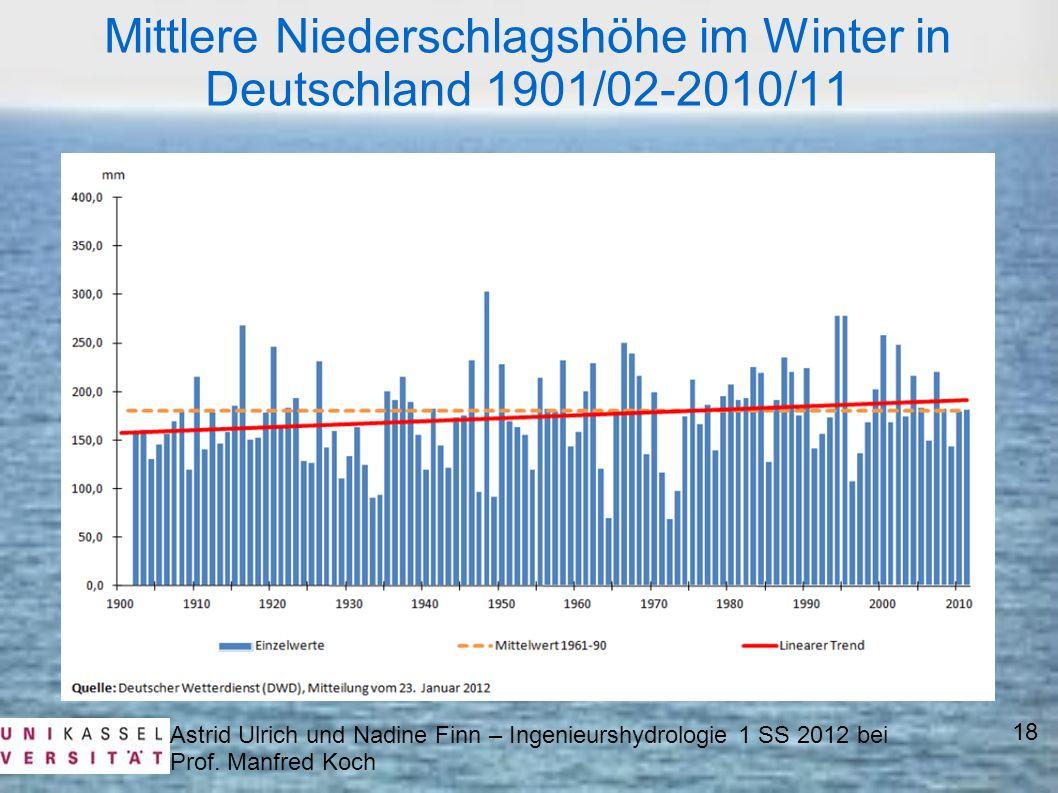 Mittlere Niederschlagshöhe im Winter in Deutschland 1901/02-2010/11