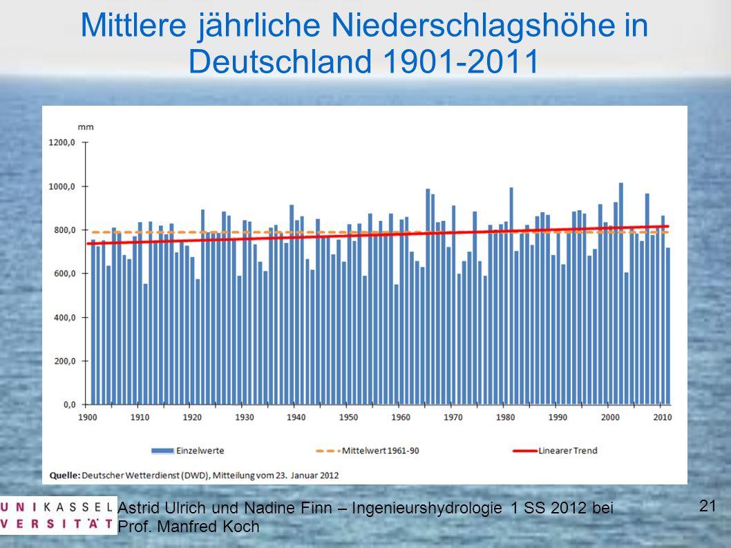 Mittlere jährliche Niederschlagshöhe in Deutschland 1901-2011